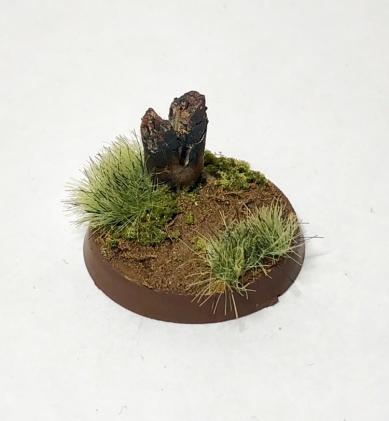Finished base with shrubbery, flocking, detailed twig