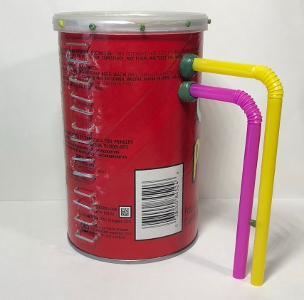 Pre-painting silo: a pringles can, staples, and straws